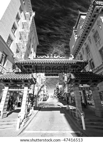 The Black & White Picture of Chinatown in San Francisco - stock photo