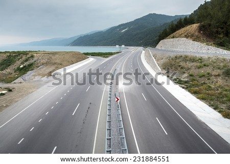 The Blacksea highway by the seashore in Northern Turkey