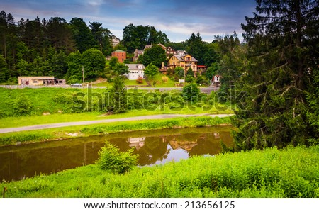 The Blackwater River in Thomas, West Virginia. - stock photo
