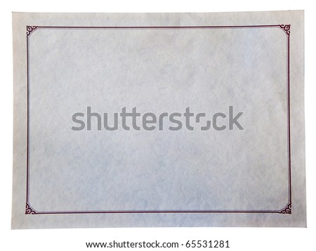 The Blank of certificate isolated on white background - stock photo
