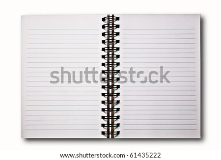 The Blank of notebook isolated on white background