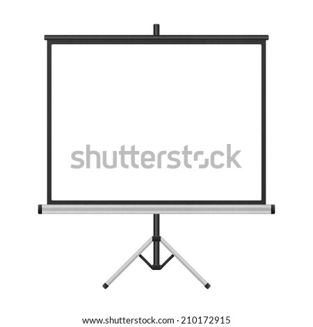 the blank projector screen with tripod isolated for presentation in business of paper illustration - stock photo