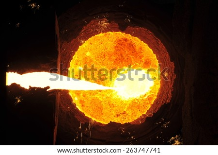 The blast furnace liquid metal - stock photo
