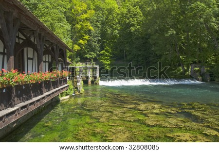 The Blautopf is a spring that serves as the source of the river Blau in the karst landscape on the Swabian Alb's southern edge, in Southern Germany