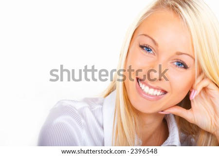 The blonde with blue eyes - stock photo