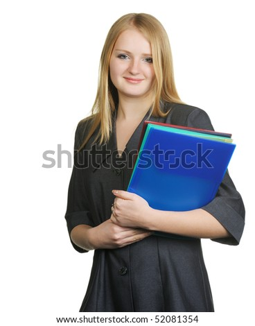 The blonde with official papers. The pretty young woman. On a white background