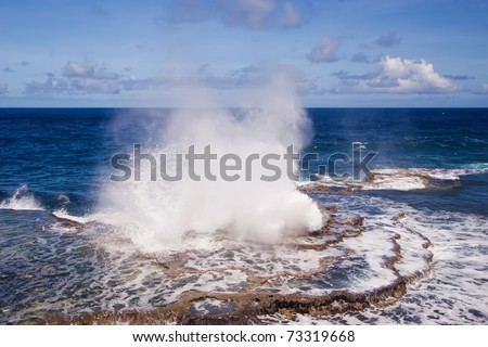 The blowholes put on a spectacular display at Houma on the western side of Tongatapu Island in the Pacific.