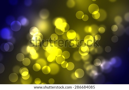 The blue and yellow bokeh circles