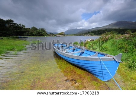 The blue boat - stock photo