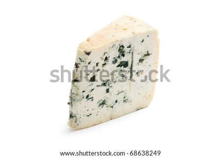 the blue cheese on white background