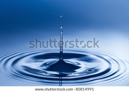 The  blue   drops of water - stock photo
