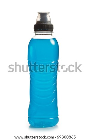 the blue energy drink in plastic bottle - stock photo