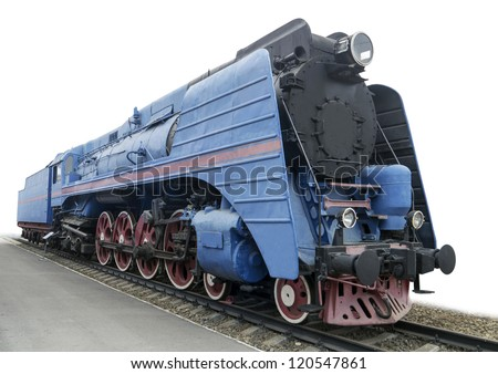 The blue express steam locomotive which is accelerating momentum 125 km/hour - stock photo