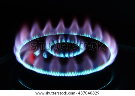 The blue flame of a cooker burner in the dark - stock photo