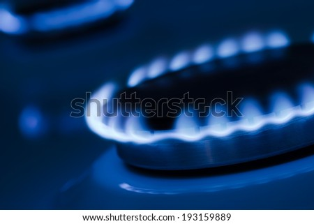 The blue flames from the burners of a gas stove