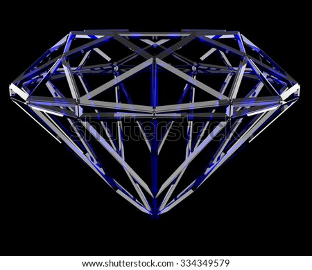 The blue geometrical shape of the diamond lattice, clipping path - stock photo