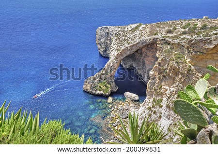 The Blue Grotto on the island of Malta - stock photo