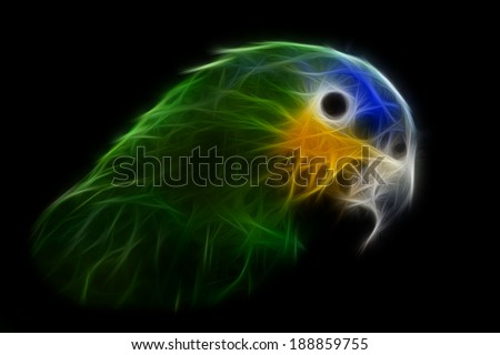 The Blue-headed Parrot, also known as the Blue-headed Pionus, abstract fractal image - stock photo