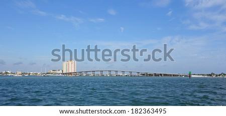 The Blue Heron Bridge to Singer Island, West Palm Beach, Florida - stock photo