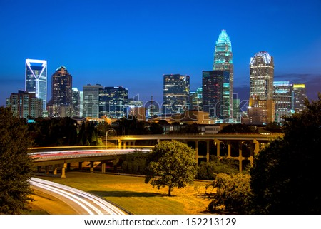 The blue hour in uptown Charlotte, North Carolina - stock photo