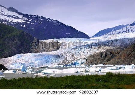 The blue ice of Mendenhall Glacier at Juneau Alaska - stock photo