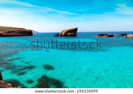 The Blue Lagoon on Comino Island, Malta Gozov. - stock photo