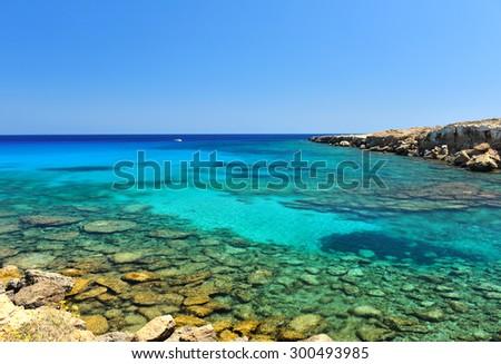 The Blue Lagoon on Cyprus Island tropical sea beach - stock photo