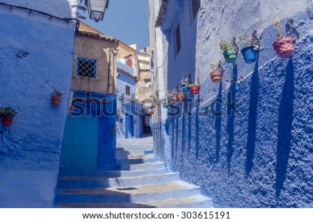 The blue medina of Chefchaouen, Morocco - stock photo