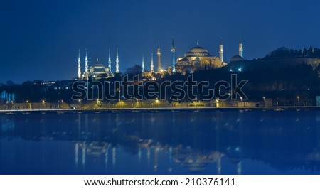 The Blue Mosque and Hagia Sophia in Istanbul Turkey - stock photo