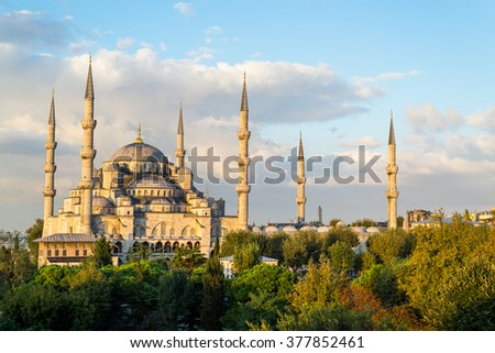 The Blue Mosque at Dawn, Istanbul, Turkey - stock photo