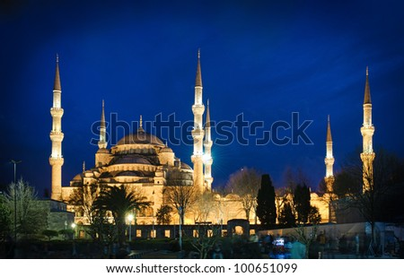 The Blue Mosque at night, Istanbul, Turkey - stock photo