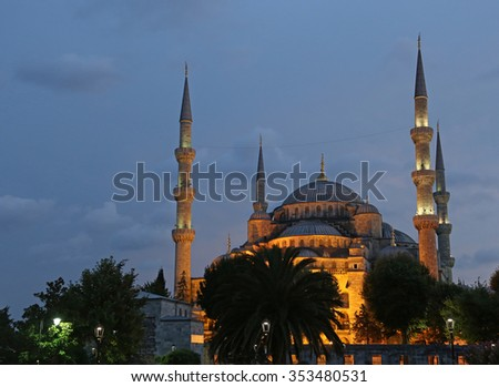 The Blue Mosque illuminated after sunset.  Located in Istanbul, Turkey.  It was completed in 1616 by Sultan Ahmed I.  - stock photo