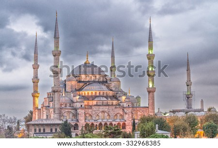 The Blue Mosque in Istanbul, Turkey. - stock photo