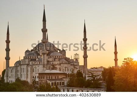The Blue Mosque Istanbul, Turkey. Sultanahmet Camii. - stock photo