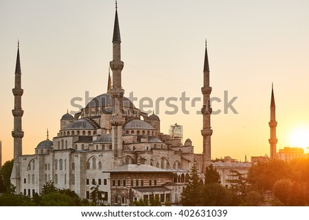 The Blue Mosque Istanbul, Turkey. Sultanahmet Camii. - stock photo