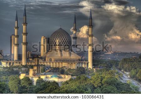 The Blue Mosque, Shah Alam, Kuala Lumpur - stock photo