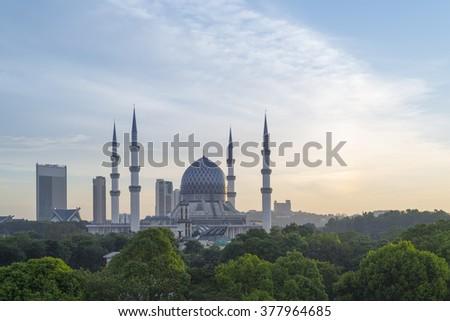 The Blue Mosque, Shah Alam, Kuala Lumpur Putrajaya - stock photo