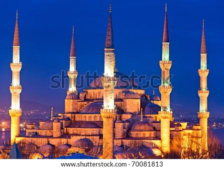 The Blue Mosque, (Sultanahmet Camii), Istanbul, Turkey. - stock photo