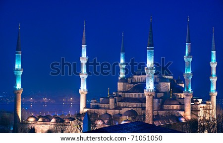 The Blue Mosque, (Sultanahmet Camii), Istanbul, Turkey. - stock photo