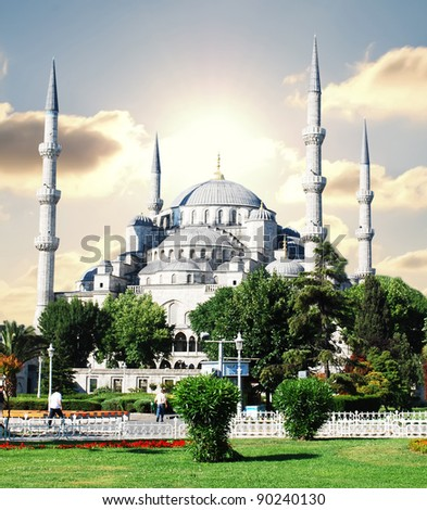 The Blue Mosque, (Sultanahmet Camii), Istanbul, Turkey - stock photo