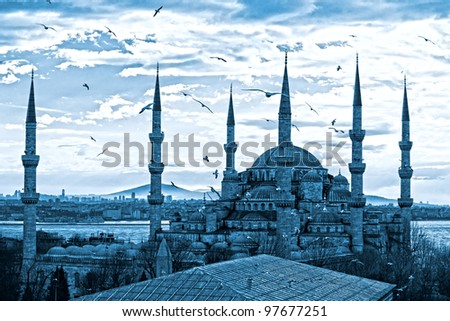 The Blue Mosque, (Sultanahmet Camii), Istanbul, Turkey. Blue toned image. - stock photo