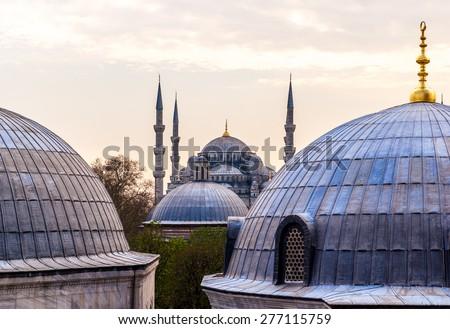 The Blue Mosque, (Sultanahmet Camii), Istanbul, Turkey. View of the Blue Mosque (Sultanahmet Camii) in Istanbul, Turkey - stock photo