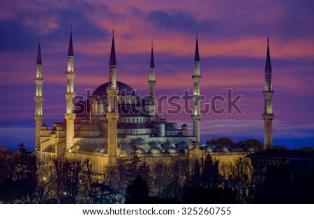The Blue Mosque (Sultanahmet Mosque) in Istanbul Turkey - stock photo