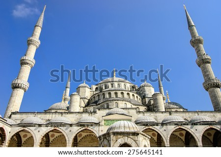 The Blue Mosque, view from an entrance, Istanbul Turkey - stock photo