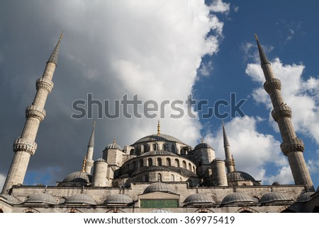 The Blue Mosque with dark threatening sky, Istanbul, Turkey - stock photo