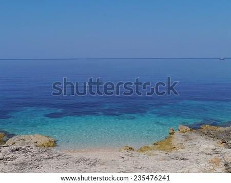 The blue of the Pantera bay of the Island Dugi Otok in Croatia - stock photo
