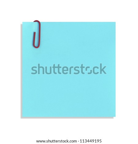 The blue paper notes on a white background - stock photo