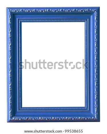 The blue photo frame isolated on white - stock photo
