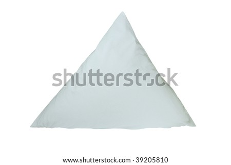 The blue pillow is combined by a triangle. On a white background - stock photo