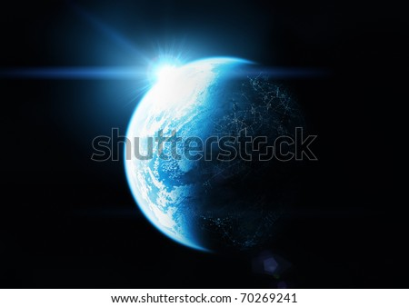 The Blue Planet. Sunrise on planet earth.